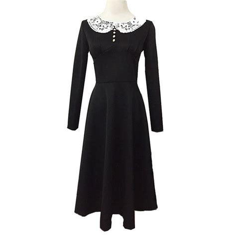 Wholesale 1950s Vintage Long Sleeve Lace Button Black
