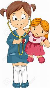Child clipart playing doctor - Pencil and in color child ...
