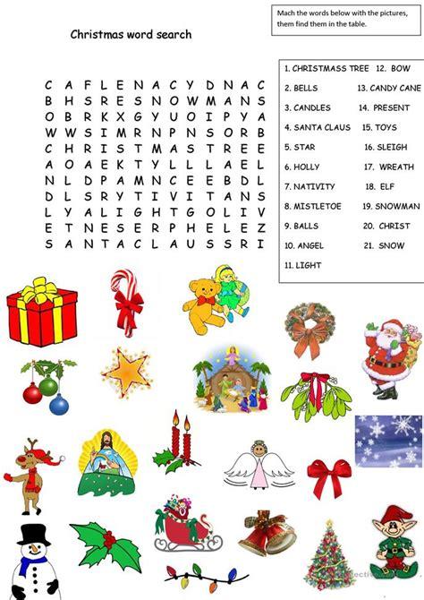 christmas word search worksheet free esl printable