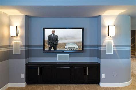 tv wall  inset   space hidden speakers