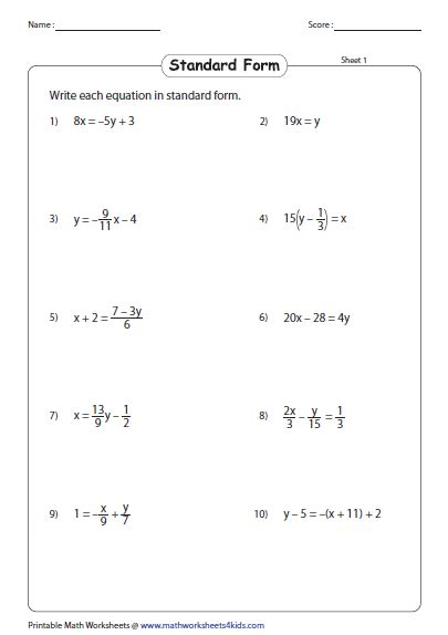 writing equations using standard form worksheet
