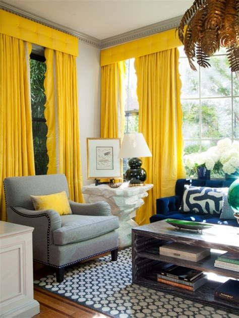 chic interior designs  yellow curtains