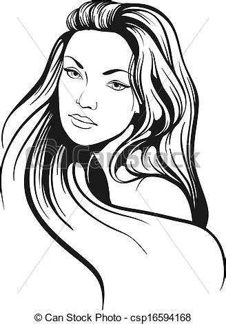 Beautiful woman with long hair sketch.