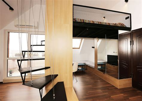 small apartment   loft bedroom  bright open plan
