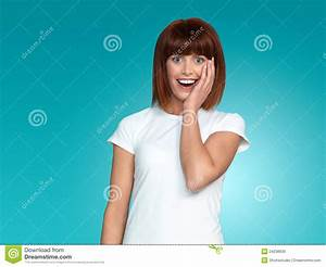Attractive Woman Surprised Face Expression Royalty Free ...
