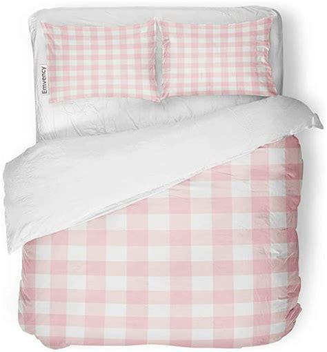 Amazon com: SanChic Duvet Cover Set Red Check Pastel Pink