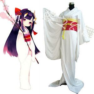 japanese anime traditional women white furisode kimono