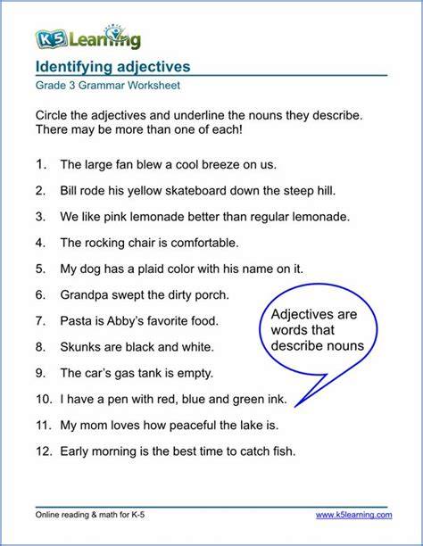 grammar worksheet grade 3 sle projects to try
