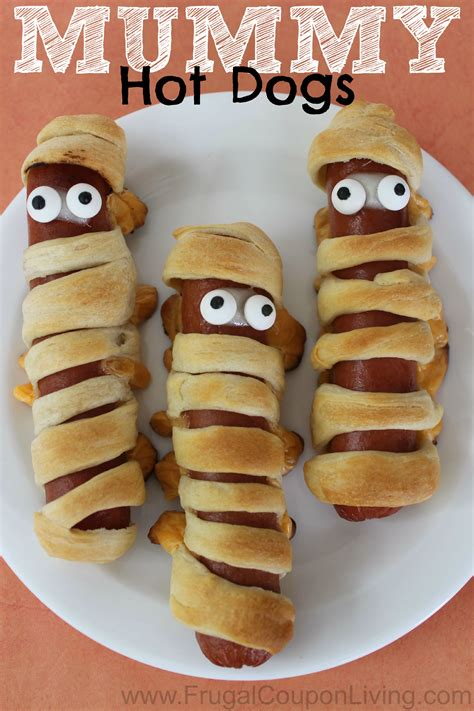 halloween mummy hot dogs  crescent rolls