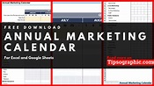 Annual Marketing Calendar Template for Excel, Free ...