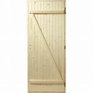 porte de service bois sapin poussant droit h205 x l80 With comment faire une porte en bois pour exterieur