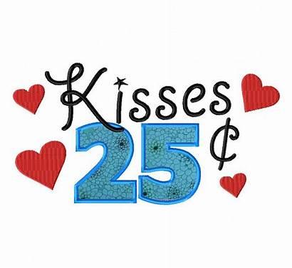 Cents Kisses Clipart Embroidery Cent Machine Applique