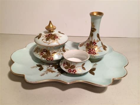 Vanity Tray Set - antique painted limoges vanity dresser tray set with