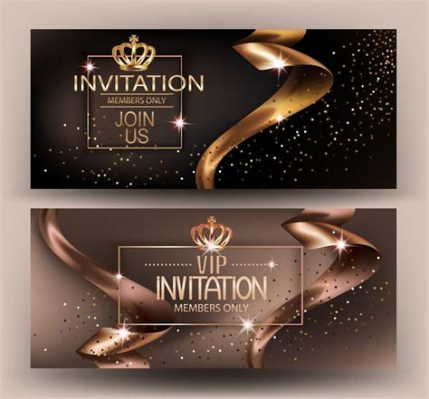 Free EPS file Elegant VIP invitation card with gold