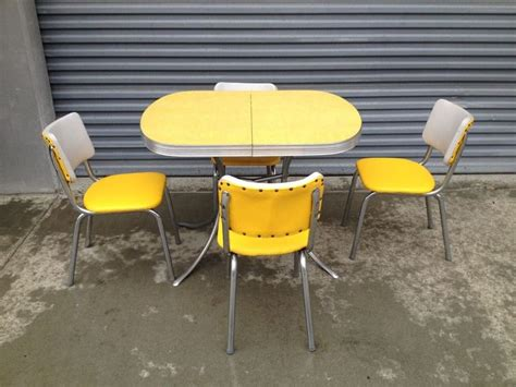 retro vintage yellow chrome formica kitchen table   chairs photography ideas