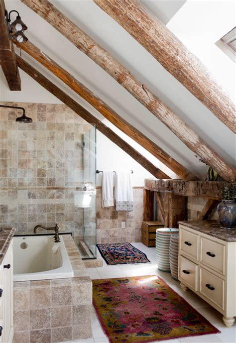 divine attic bathrooms  exposed beams