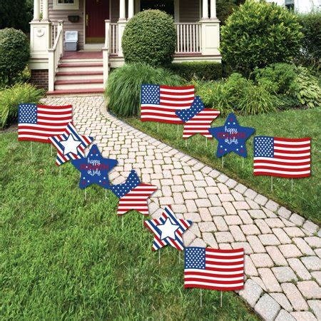 July Flag Star Lawn Decorations Outdoor
