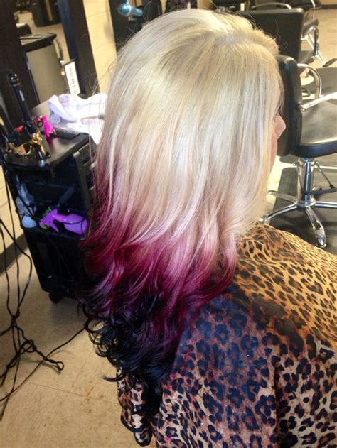 Blonde To Red Violet To Black Reverse Ombre Hair By