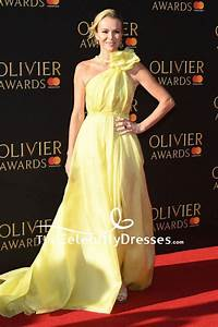 Amanda Holden Yellow One Shoulder Beaded Evening Dress Olivier Awards 2017 Red Carpet