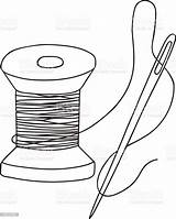 Needle Thread Spool Coloring Wooden Template Freehand Drawn Retro Antique Illlustration Technique Culture Entertainment Arts sketch template