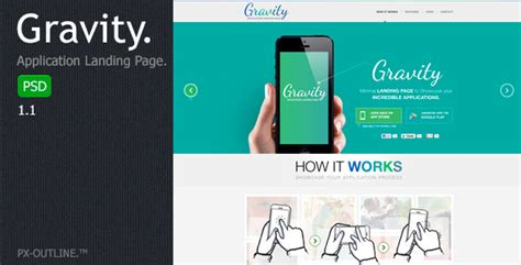 Themeforest Gravity Material Mobile App Template by Gravity Mobile App Landing Page Psd By Pxoutline