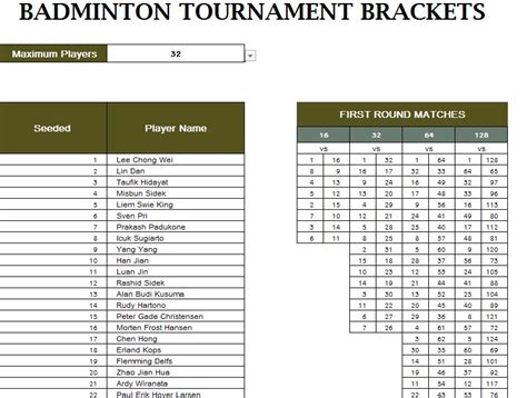badminton tournament schedule  excel templates