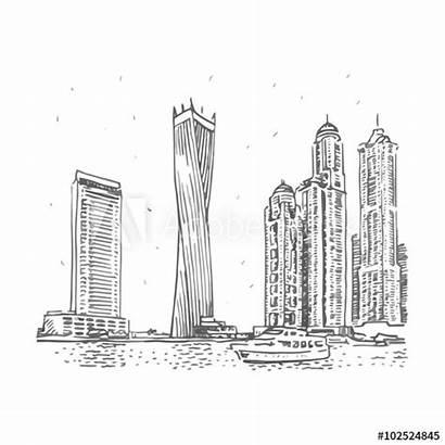 Dubai Tower Sketch Cayan Buildings Uae