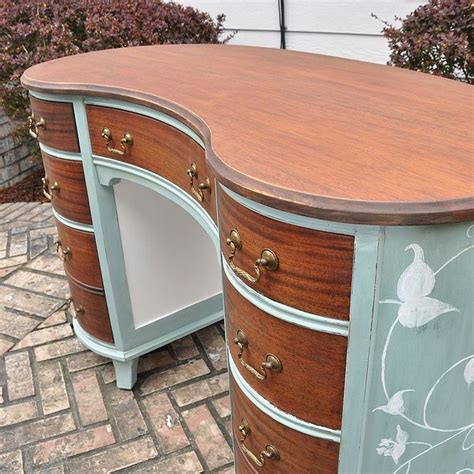 painted mahogany kidney shaped desk hometalk