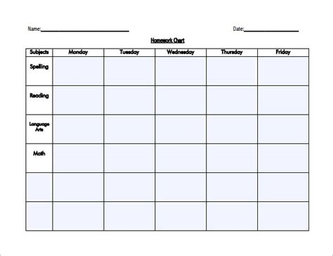 Weekly Homework Sheet Weekly Homework Sheet Printable
