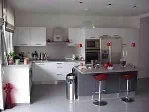 beautiful cuisine gris et blanc deco photos design With cuisine gris et blanc