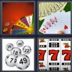 4 fotos 1 palabra ruleta poker, cartas de corazones, 777 Respuesta!