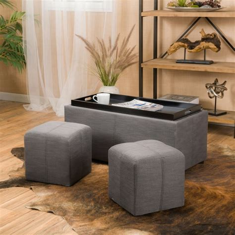 Fabric Storage Ottoman With Tray by Contemporary Grey 3 Fabric Tray Top Nested Storage