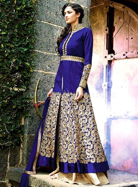 deep blue lehenga style party wear designer kameez