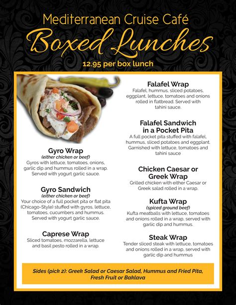 box lunch menu