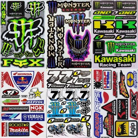motocross helmet stickers 6 sheets graphic kit decals rockstar racing decals sticker