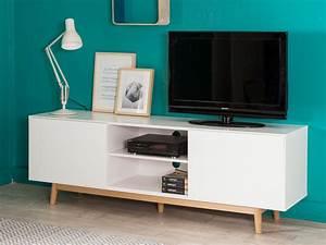 Meuble TV 2 portes 2 niches en bois laqué blanc pieds