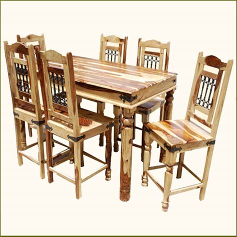 bar height table 6 chairs rectangle counter height pub wood dining room table 6