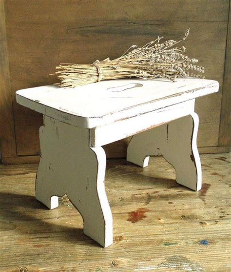 primitive white wood step stool milking stool foot stool