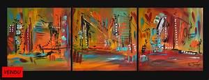 Tableau Triptyque Moderne : tableau triptyque tableau abstrait contemporain en 3 parties ~ Teatrodelosmanantiales.com Idées de Décoration