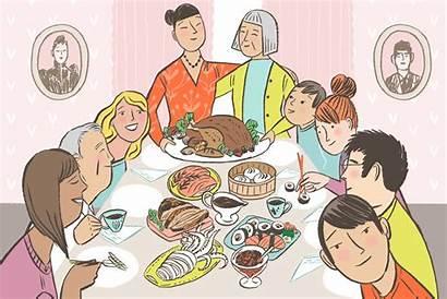 Thanksgiving Table Dinner Eating Animated Illustration Illustrations