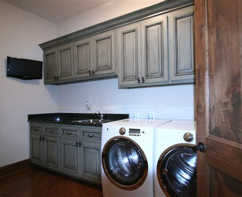 rustic kitchen cabinets for wash sort stack traditional laundry room 7839