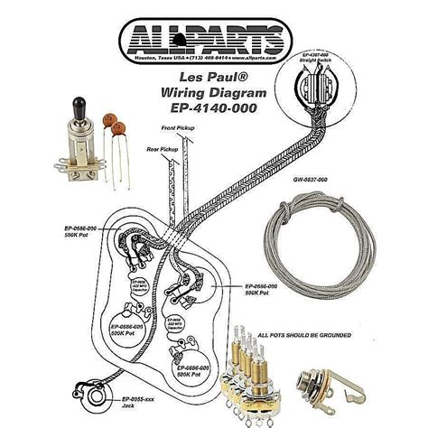 epiphone les paul wiring kit with diagram ebay