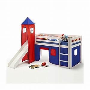 Lit Surélevé Avec Toboggan : donjon max pour lit sur lev avec toboggan bleu rouge mobil meubles ~ Melissatoandfro.com Idées de Décoration