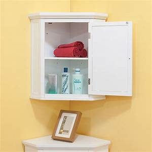 space efficient corner bathroom cabinet for your small With efficient small bathroom storage ideas