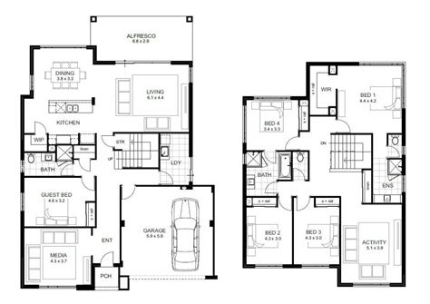 beautiful  bedroom double storey house plans  home