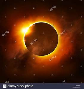 A Total Eclipse Of The Sun  Illustration Stock Photo