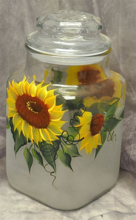 sunflower canister sets kitchen painted sunflowers kitchen canister by