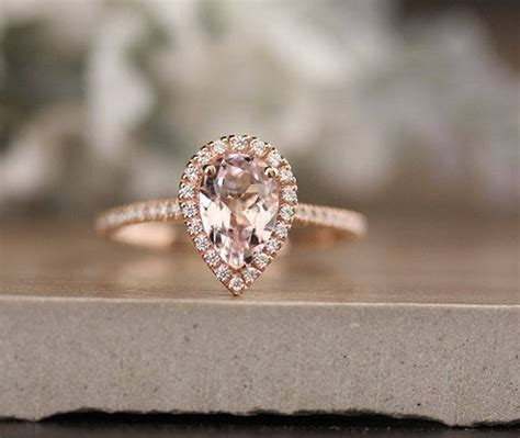 low cost 10k gold 1 40 carat morganite pear engagement