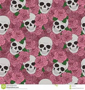 Skulls And Pink Roses Stock Vector - Image: 43832513