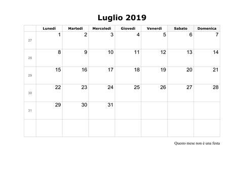 calendario annuale 2019 da stare gratis calendario luglio 2019